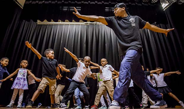 YA Teaching Artist Group Hop Hop Fundamentals Assembly Program at G.E. Wilson School in Hamilton, NJ.