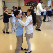 "Students from Vineland Public Charter School learn Latin ballroom dance with AIE Teaching Artist, Marck ""Flaco"" Best."