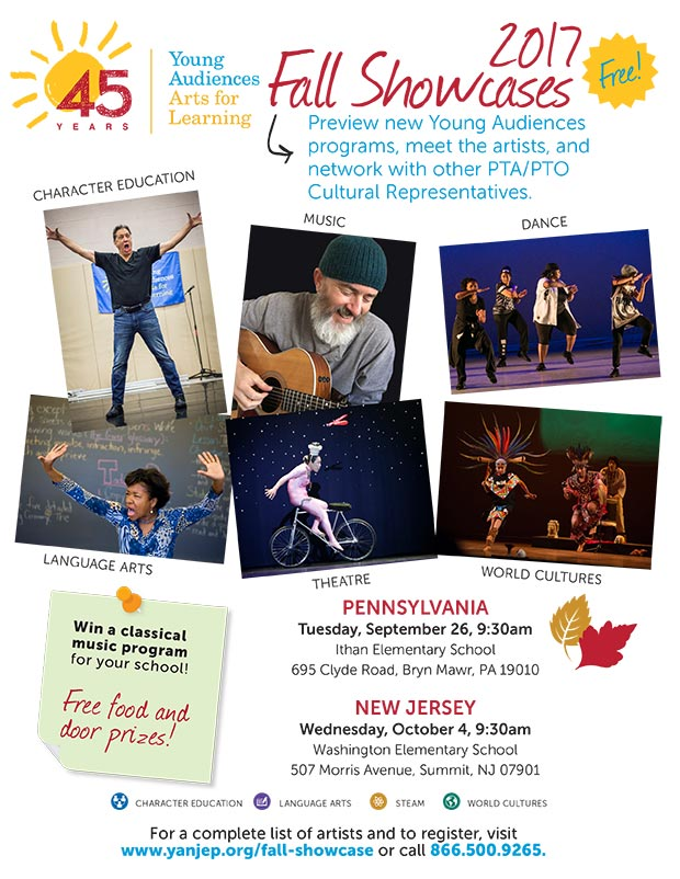 Young Audiences 2017 Fall Artist Showcases Flyer