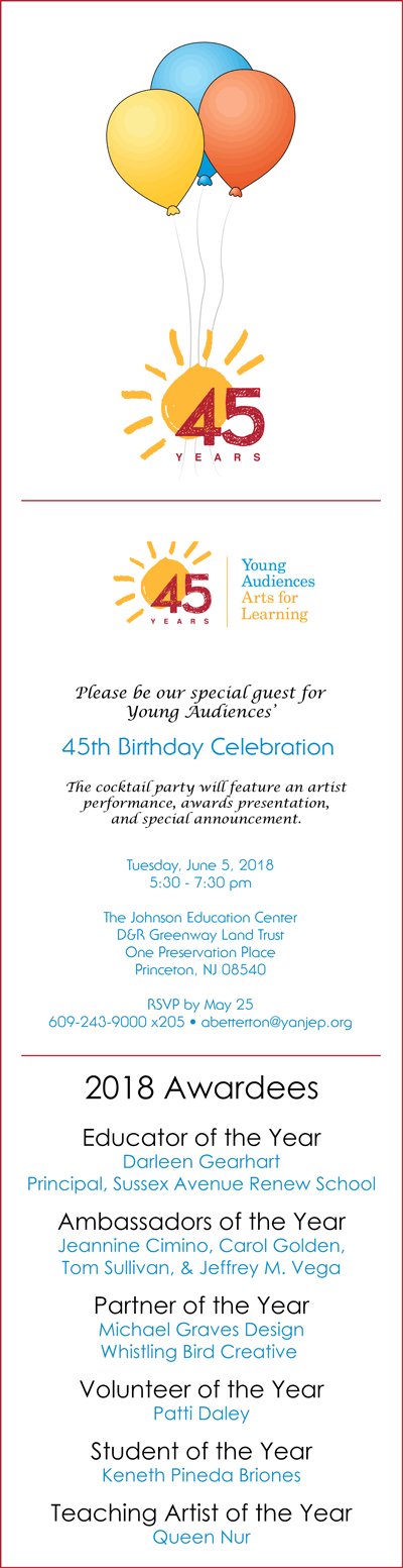 Image of Young Audiences' 2018 Annual Meeting Invitation