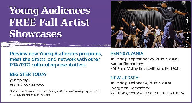 Catalog Card for Young Audiences' Fall Artist Showcases 2019