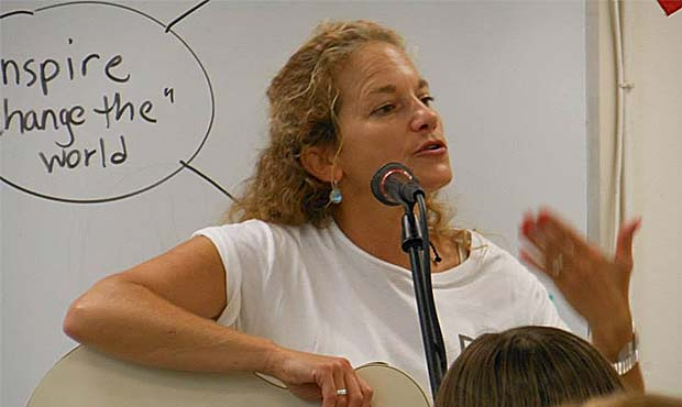 Alice Leon writing songs with students