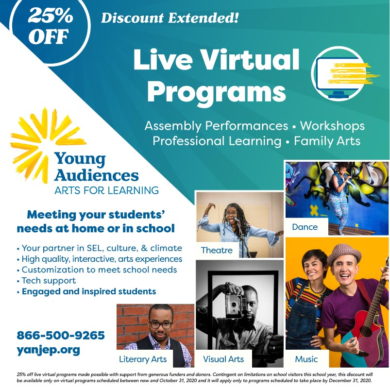 Young Audiences Live Virtual Programs Flyer