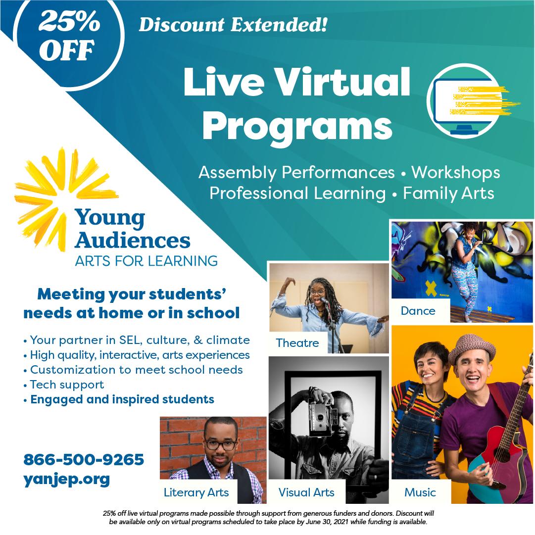 Young Audiences' Virtual Program Discount Flyer